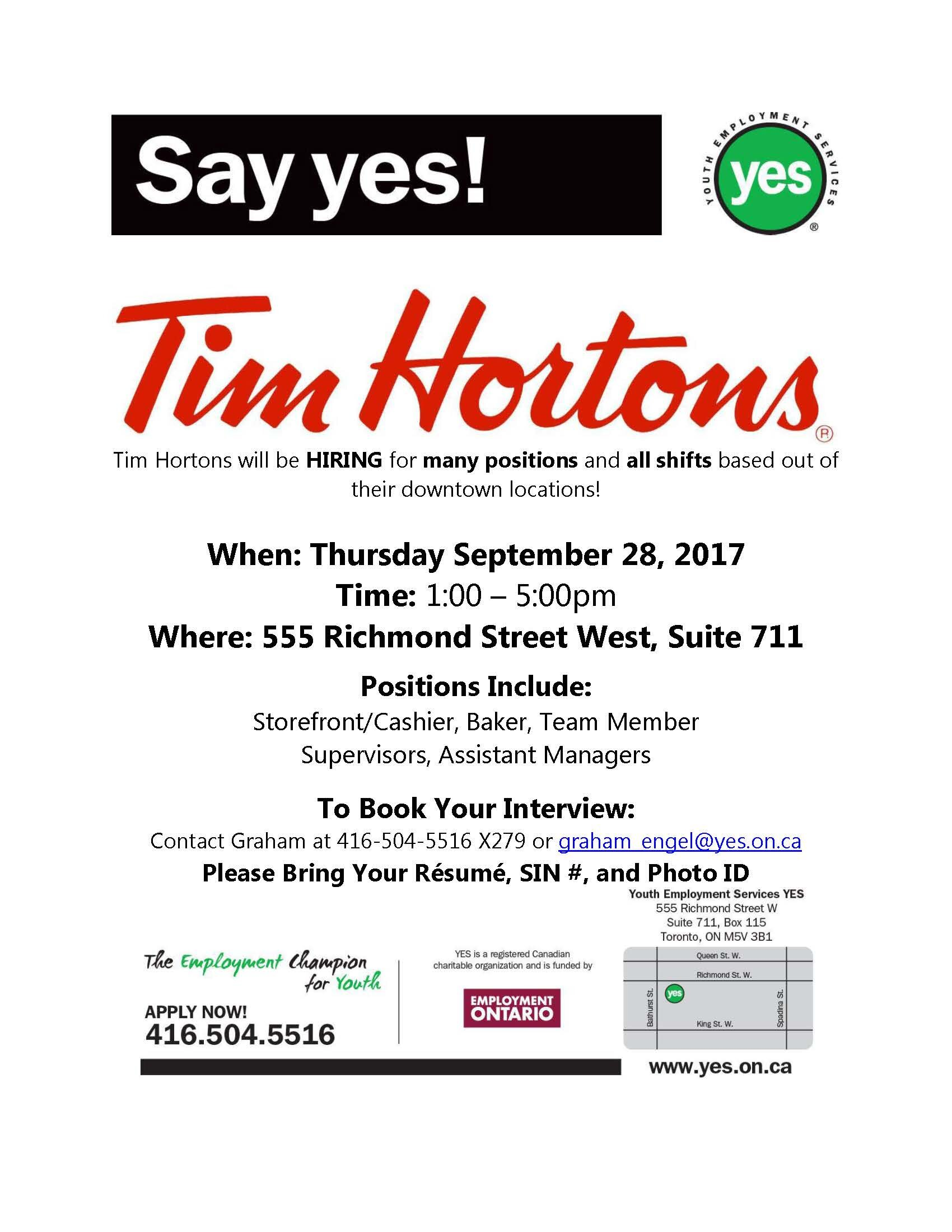 Tim Hortons Hiring Event-September 28th at 1pm! | Youth Employment ...