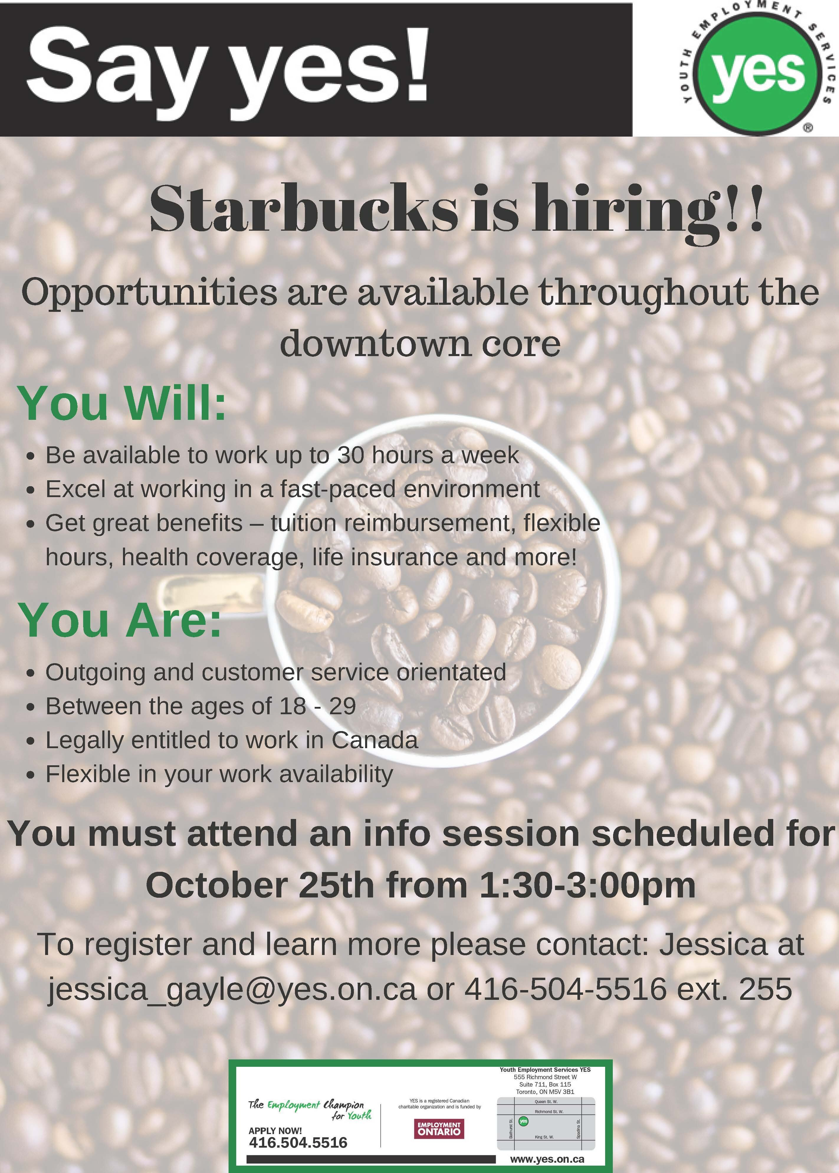 Starbucks is Hiring! | Youth Employment Services YES