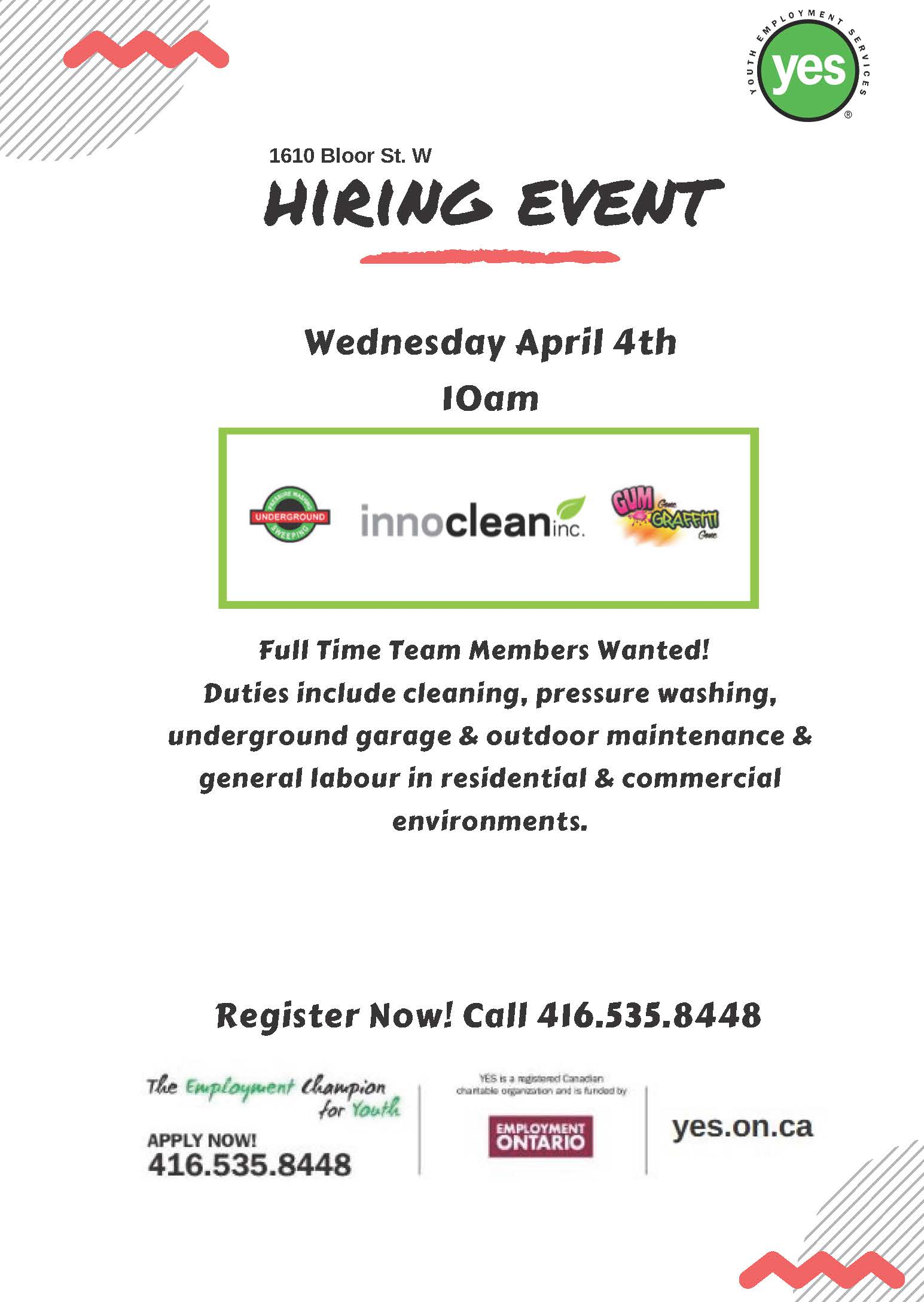 Youth employment services yes innoclean hiring event april 4th falaconquin