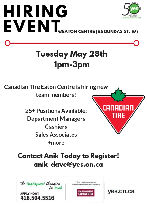 Canadian Tire Hiring Event @ Canadian Tire (Eaton Centre location)