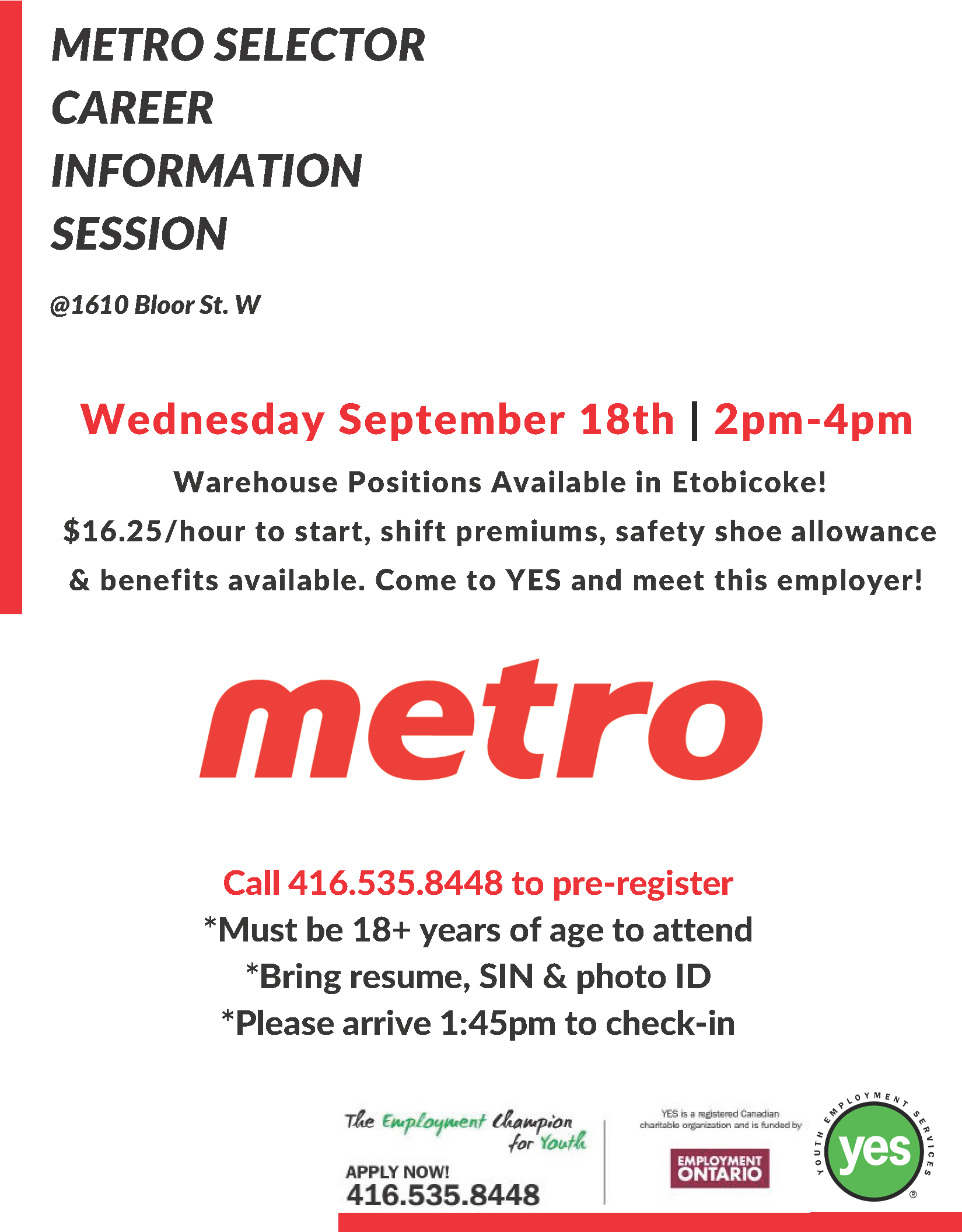 Metro Career Information Session @ YES Employment Centre