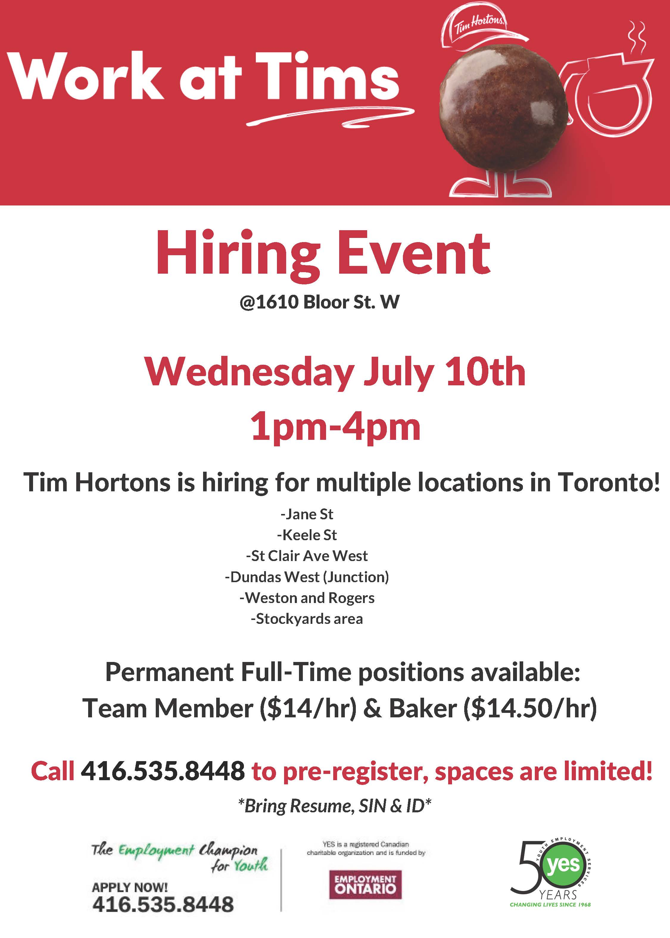 Tim Hortons Hiring Event @ YES
