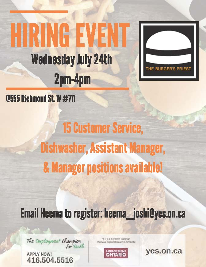 The Burger's Priest Hiring Event @ YES
