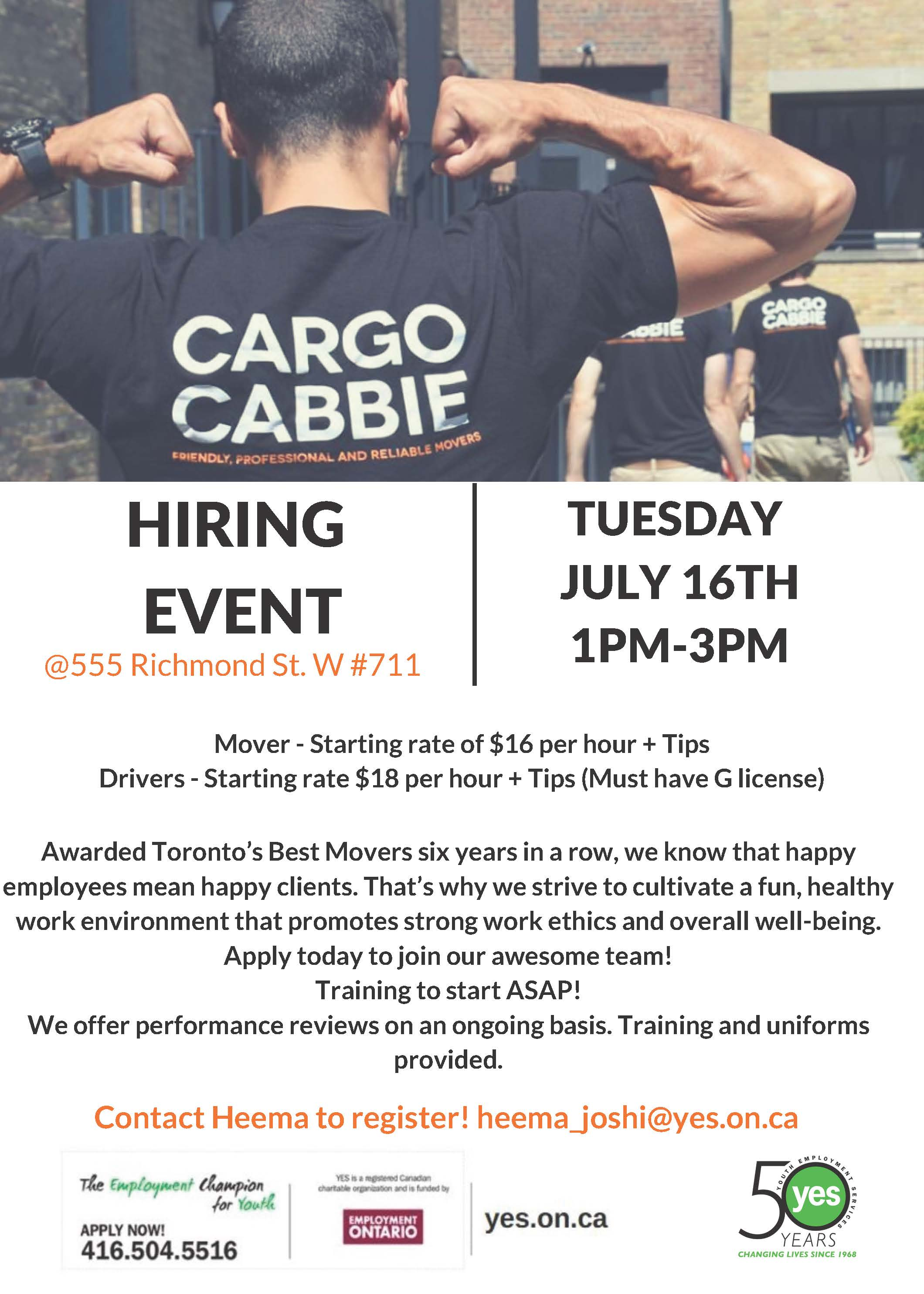 Cargo Cabbie Hiring Event @ YES