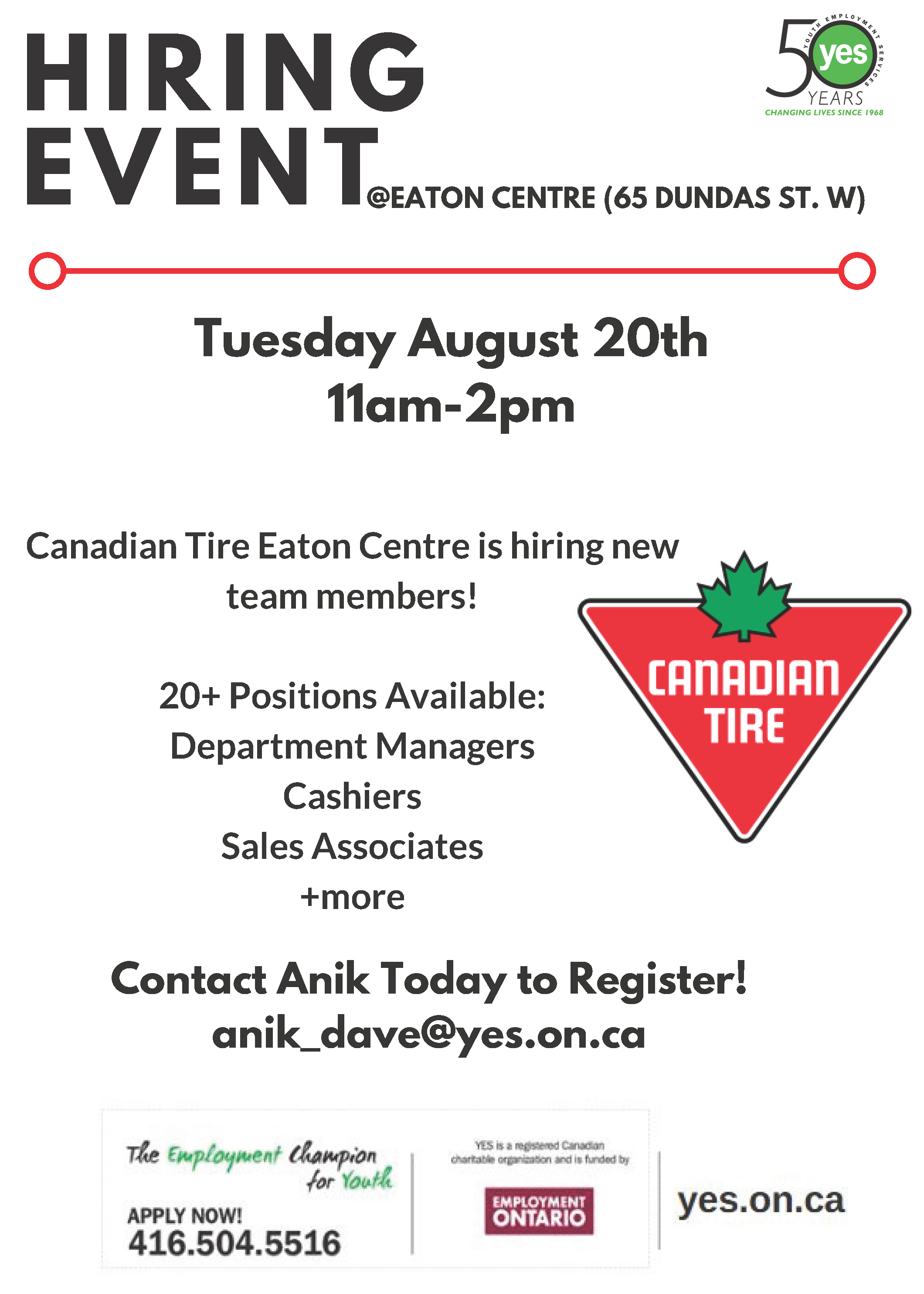 Canadian Tire Hiring Event @ Canadian Tire-Eaton Centre Location