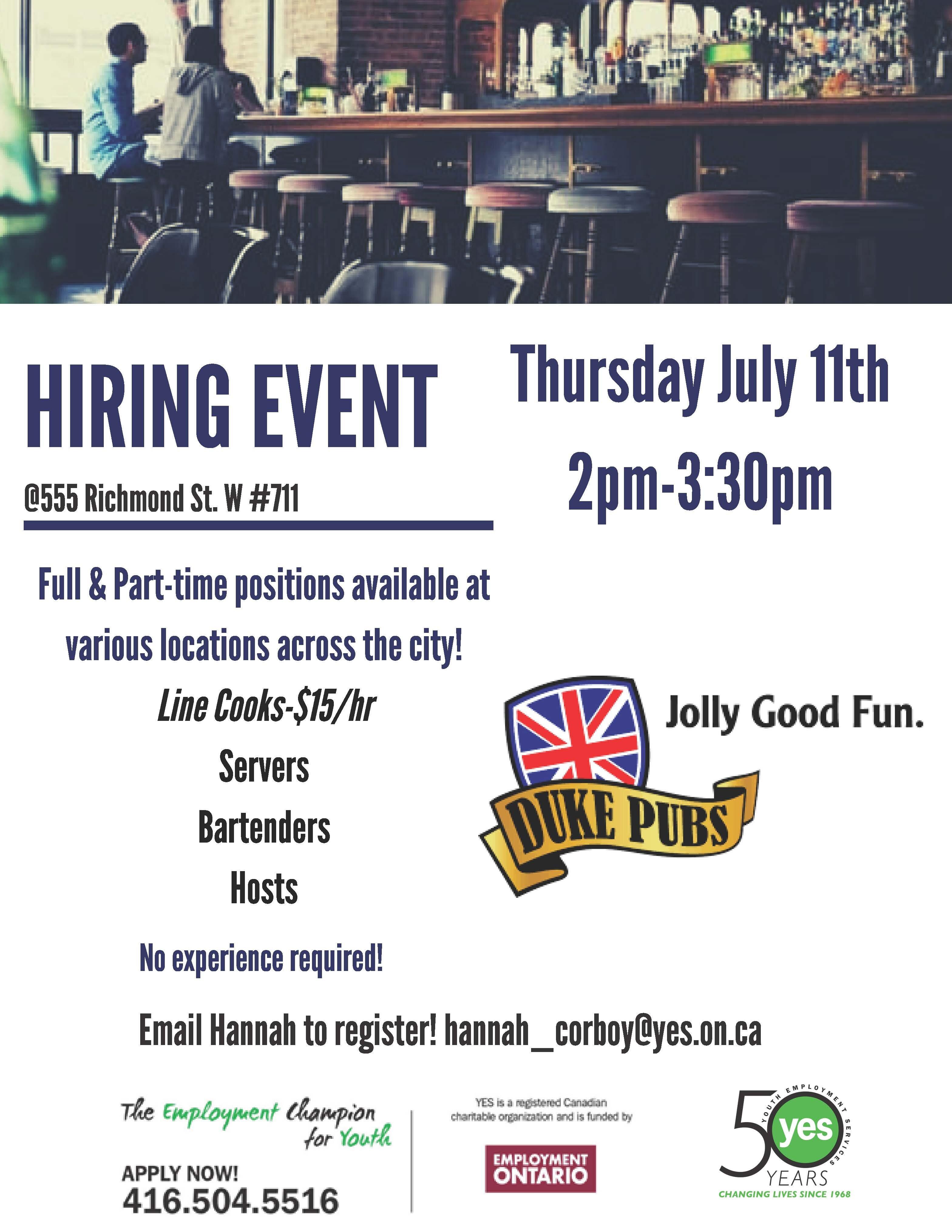 Duke Pubs Hiring Event @ YES