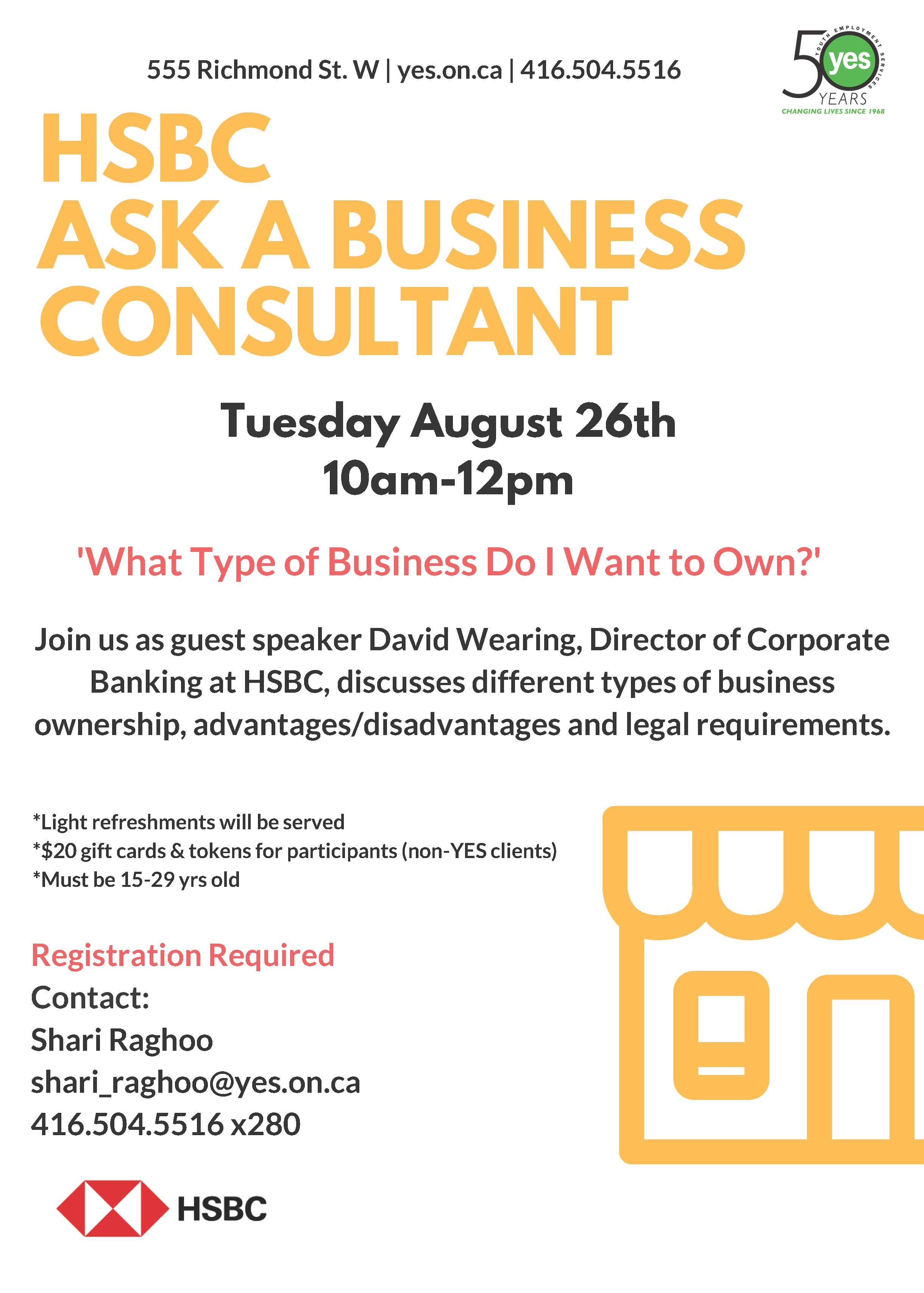HSBC Ask a Business Consultant Session: 'What Type of Business Do I Want to Own?' @ YES