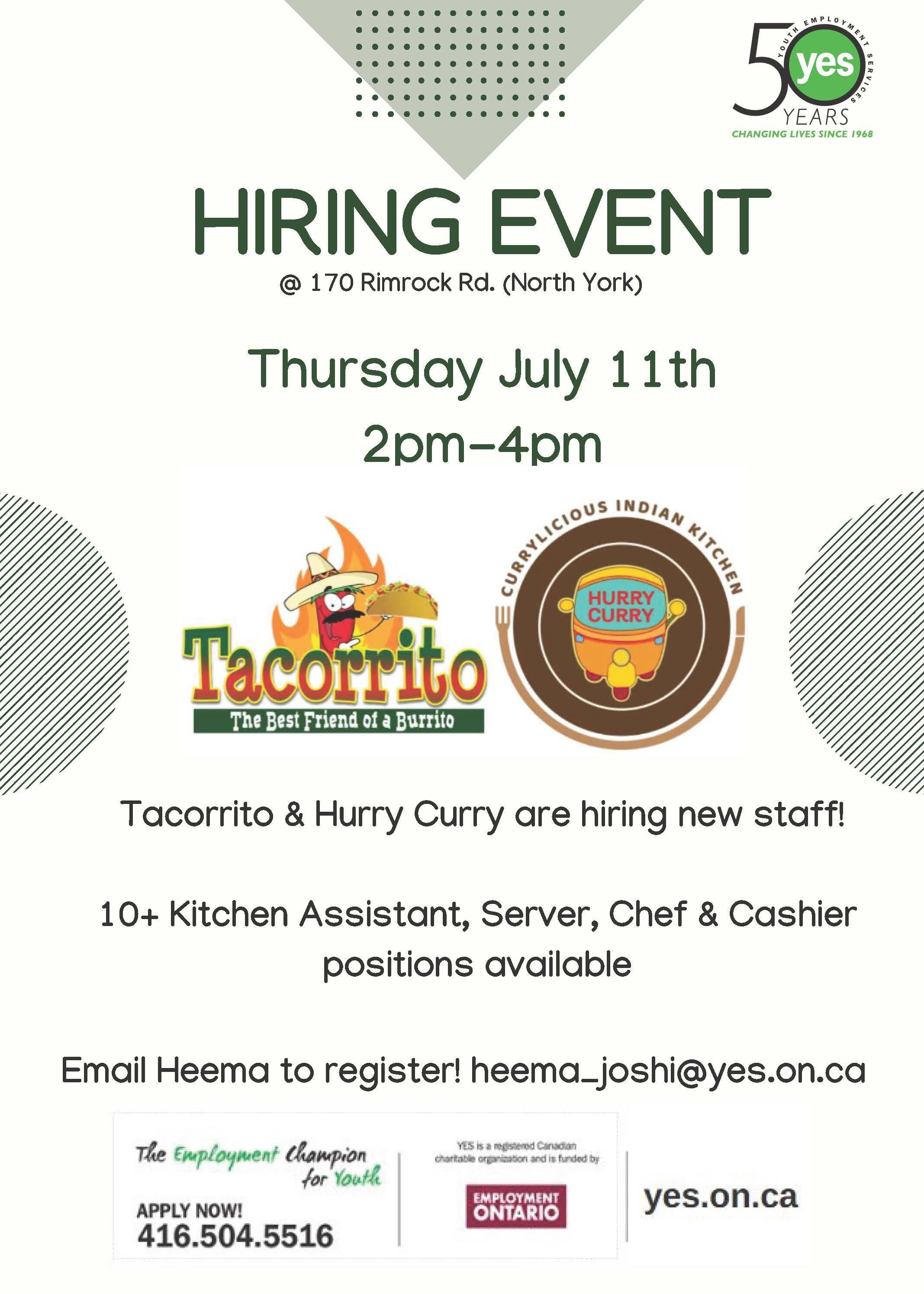 Tacorrito & Hurry Curry Hiring Event @ Tacorrito/Hurry Curry