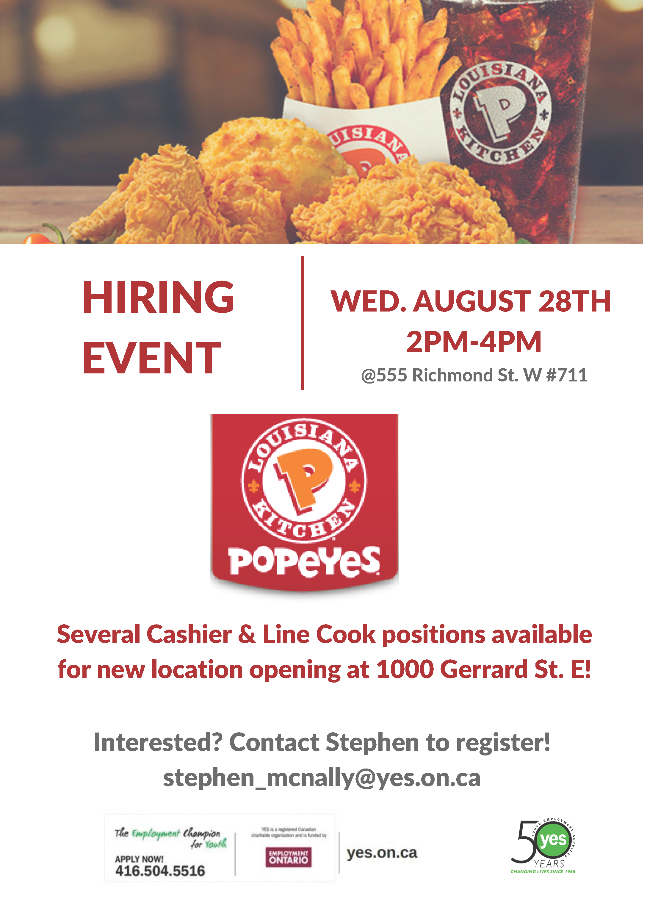 Popeyes Hiring Event @ YES Head Office