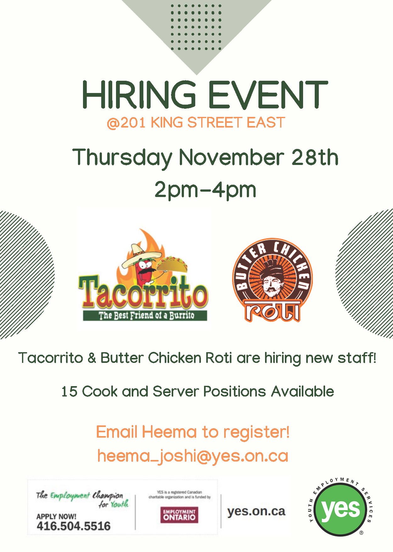 Tacorrito and Butter Chicken Roti Hiring Event