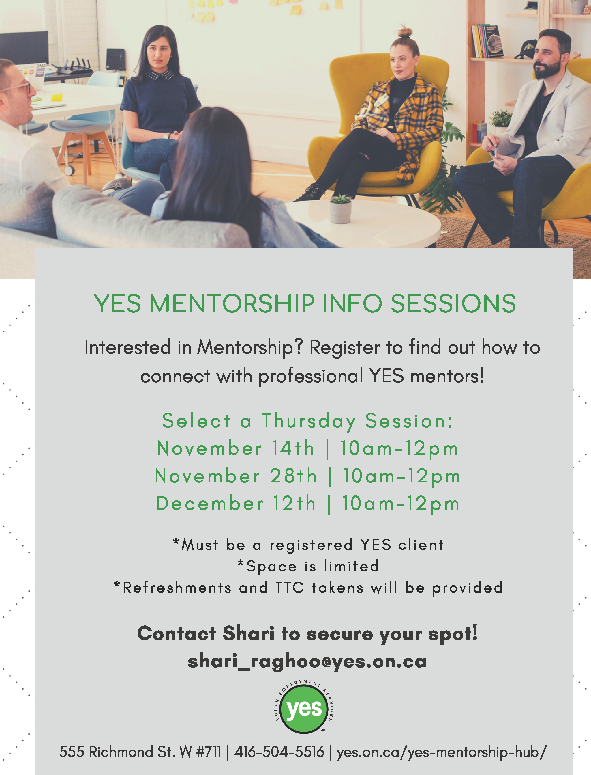 YES Mentorship Sessions @ YES Office
