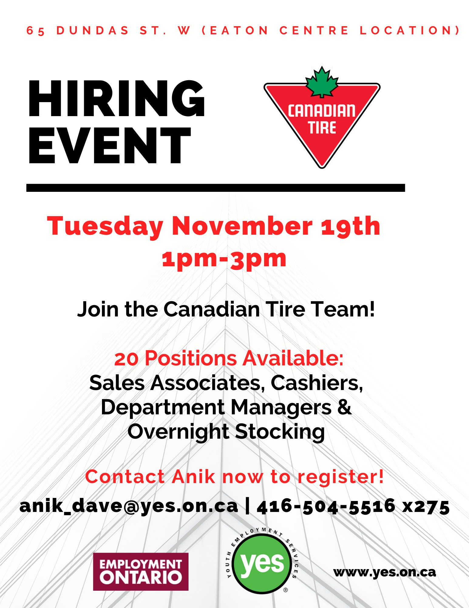 Canadian Tire Hiring Event @ Canadian Tire- Eaton Centre Location