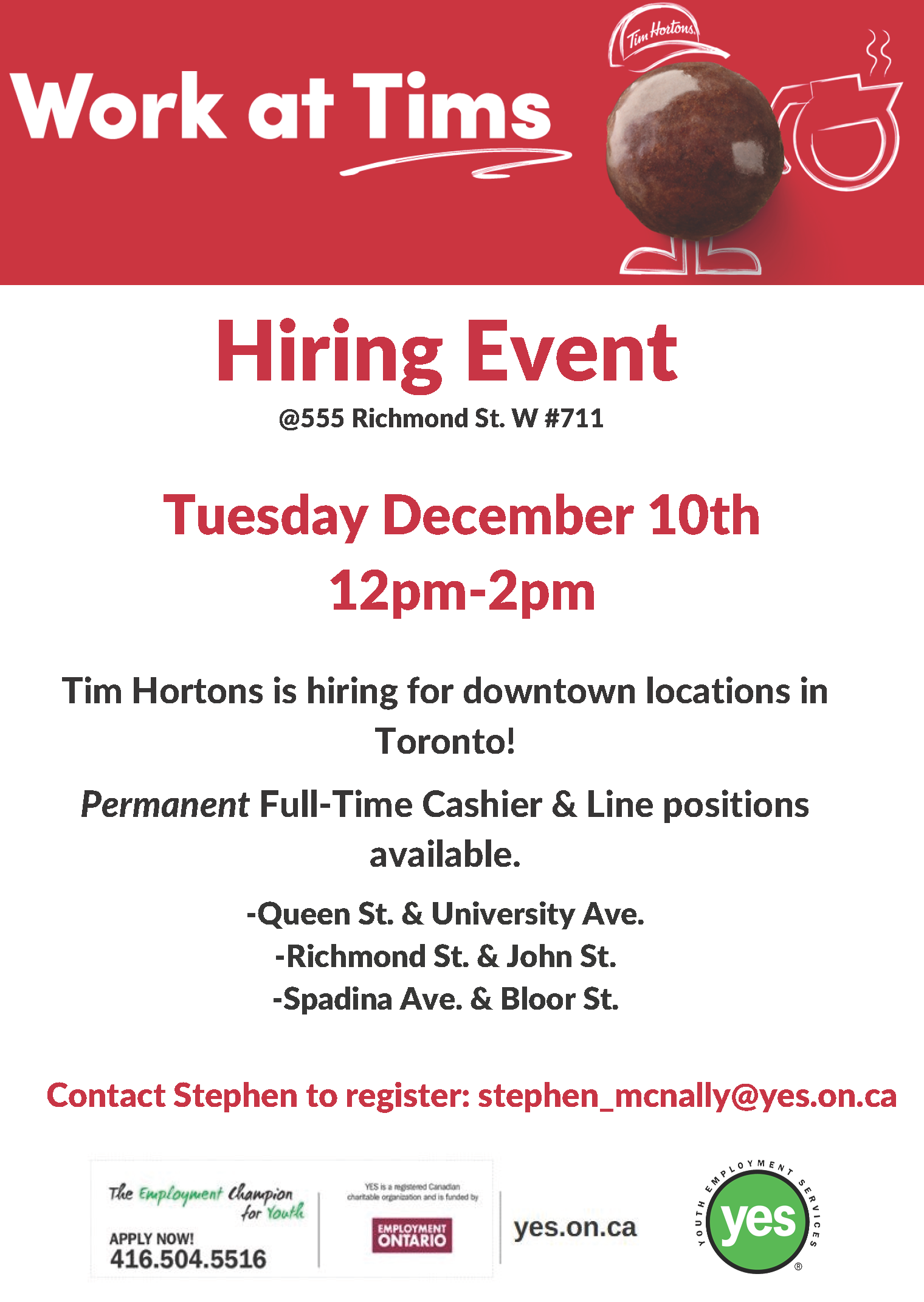 Tim Hortons Hiring Event @ Youth Employment Services