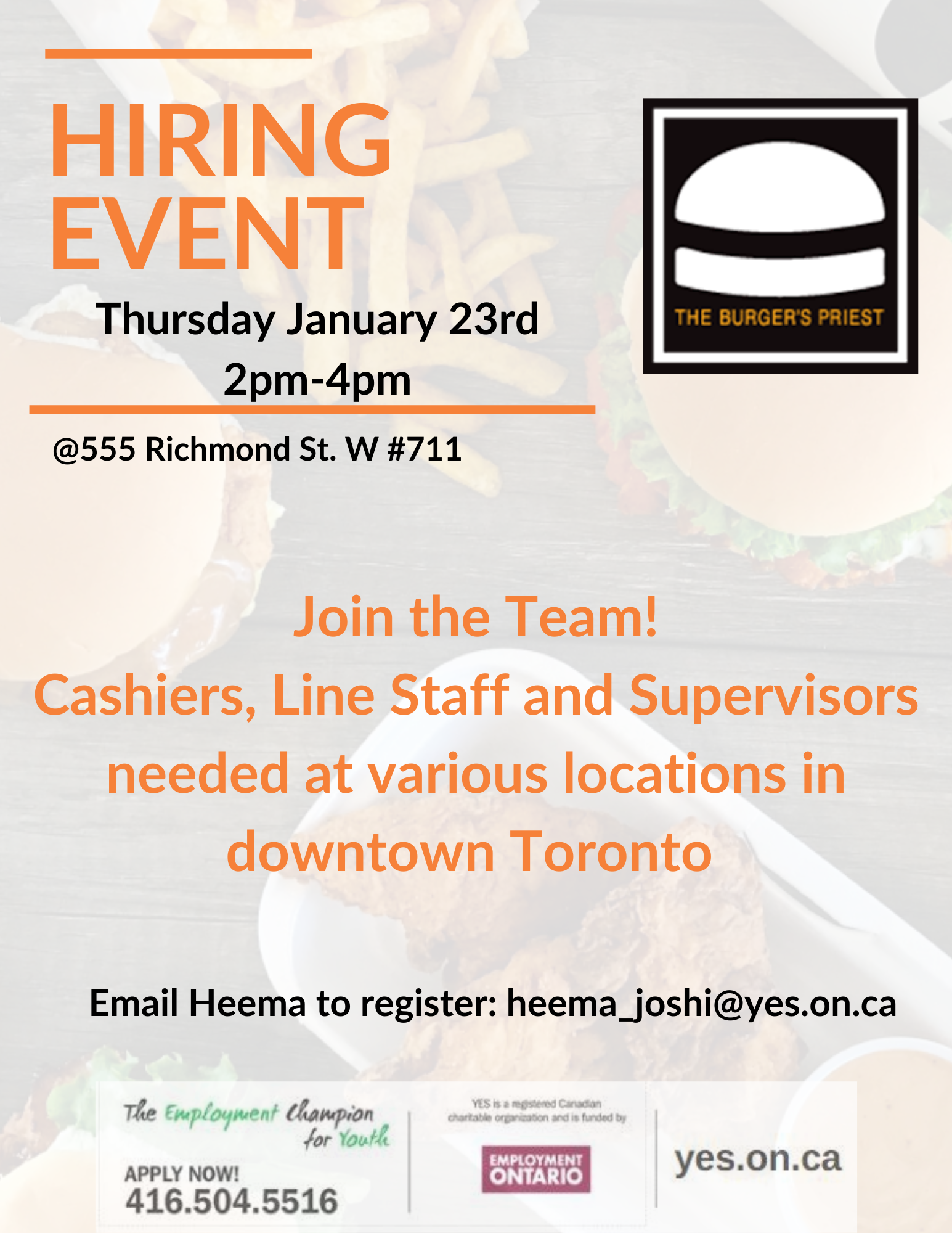 The Burger's Priest Hiring Event @ Youth Employment Services