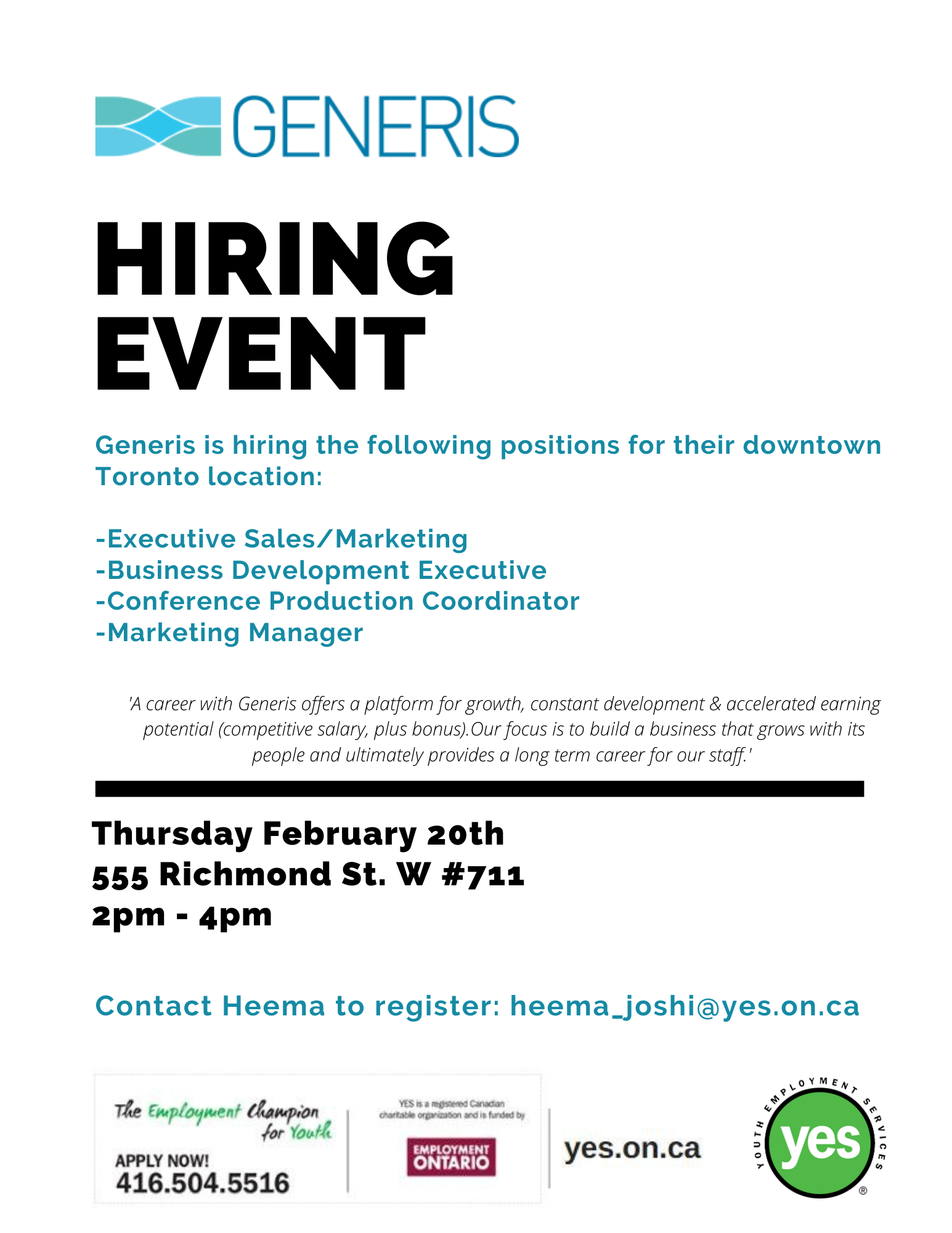 Generis Hiring Event @ Youth Employment Services