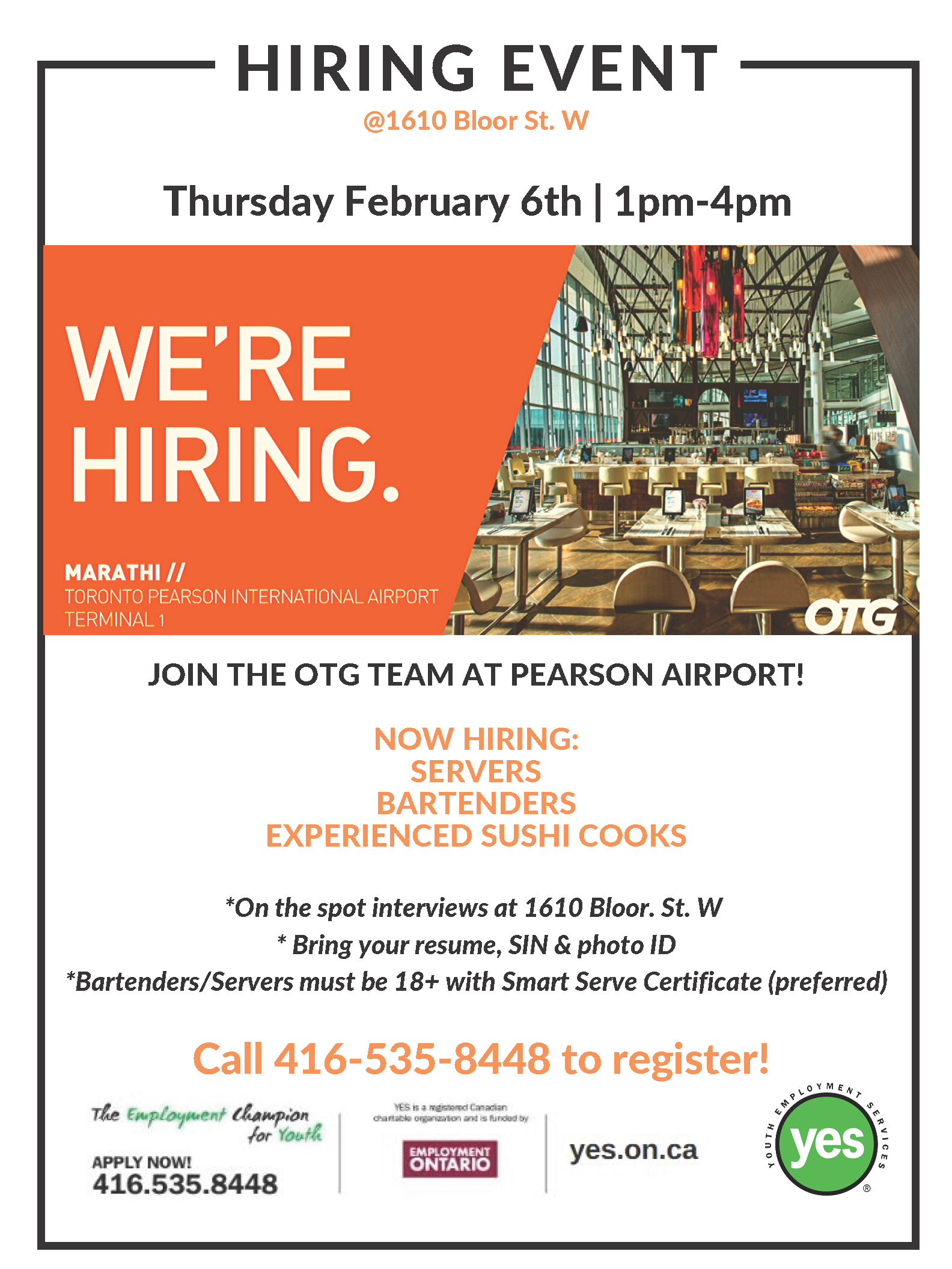 OTG Hospitality Hiring Event @ YES Employment Centre