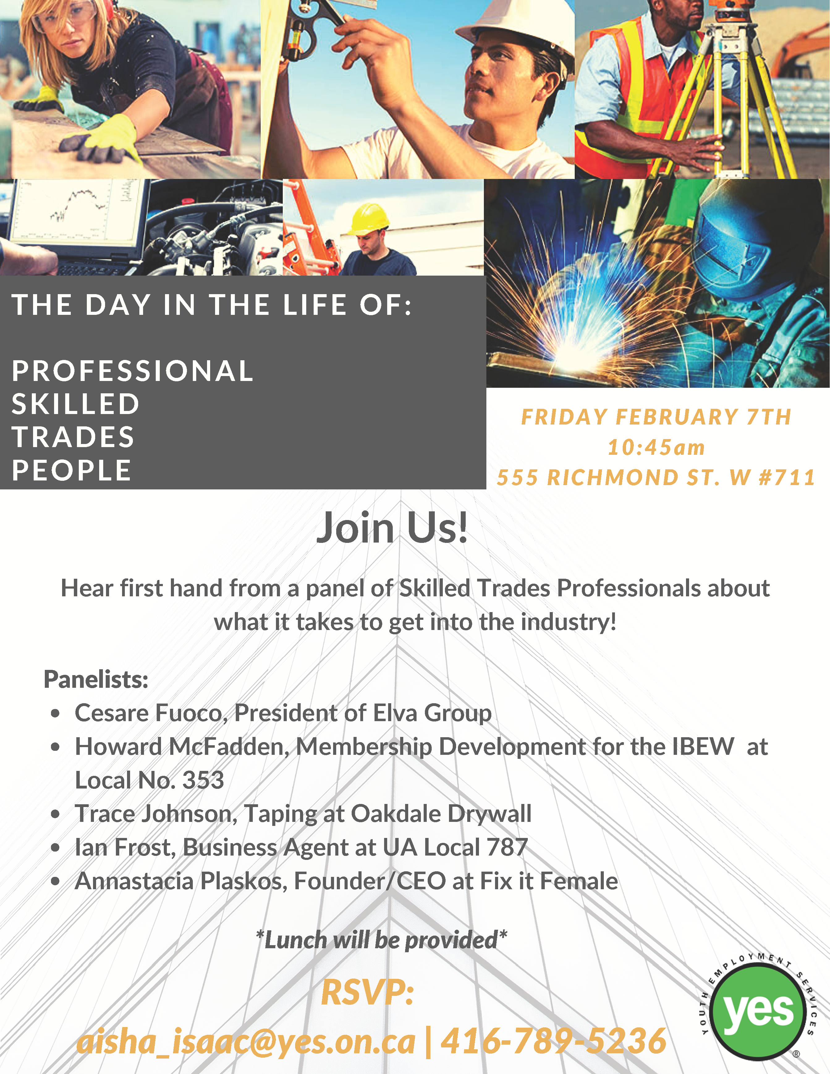 The Day in the Life of: Professional Skilled Trades People Panel Event @ Youth Employment Services