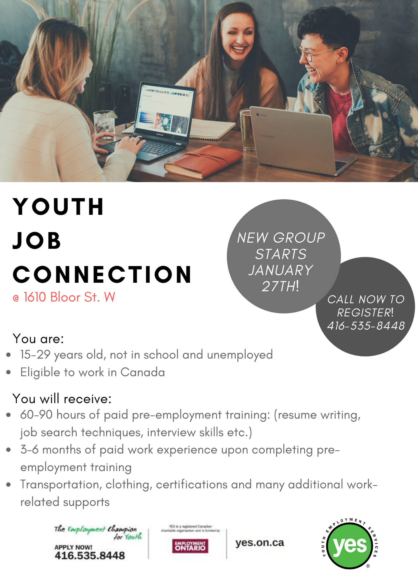 Youth Job Connection (1610 Bloor St. W Location) @ YES Employment Centre