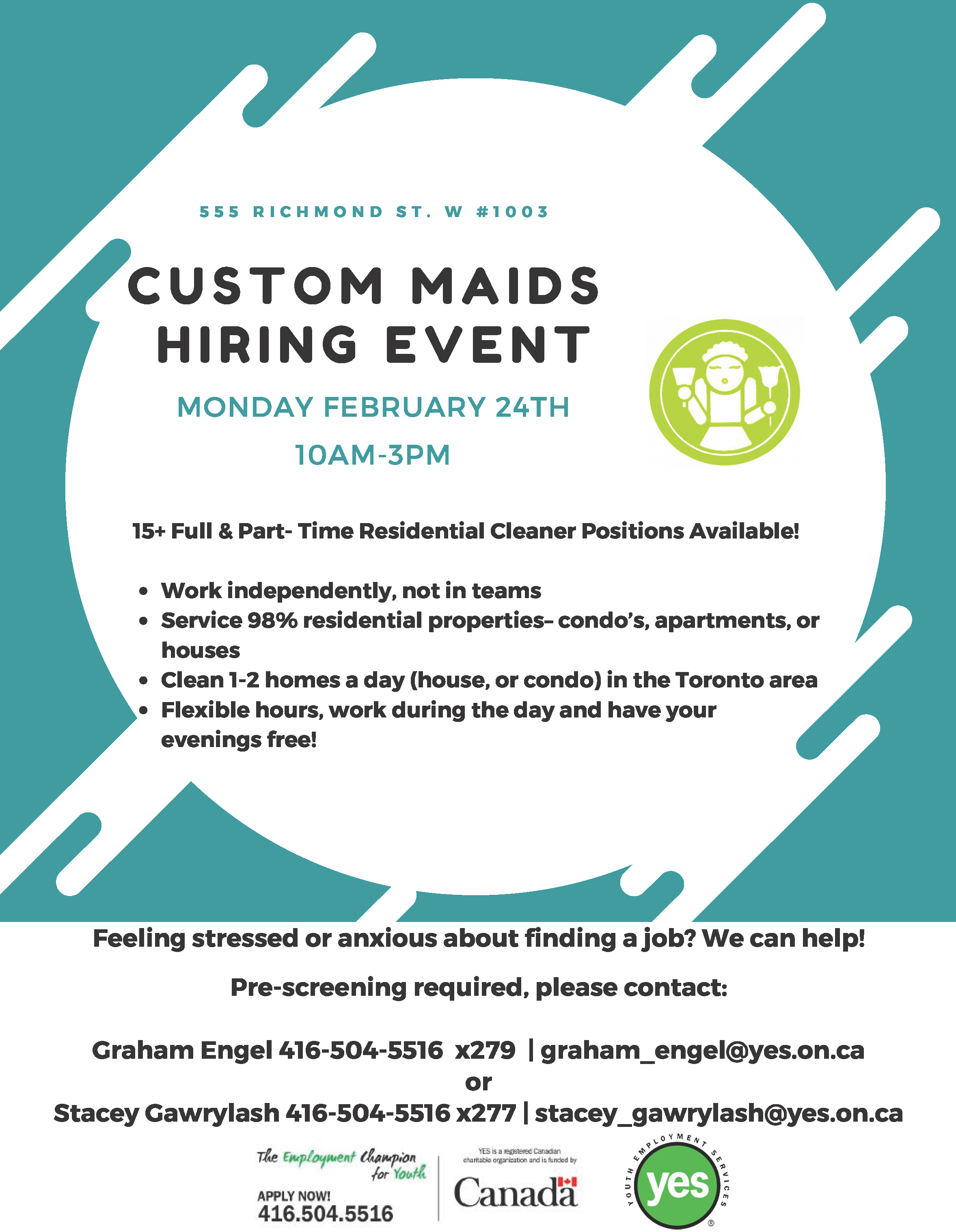 Custom Maids Hiring Event @ Youth Employment Services