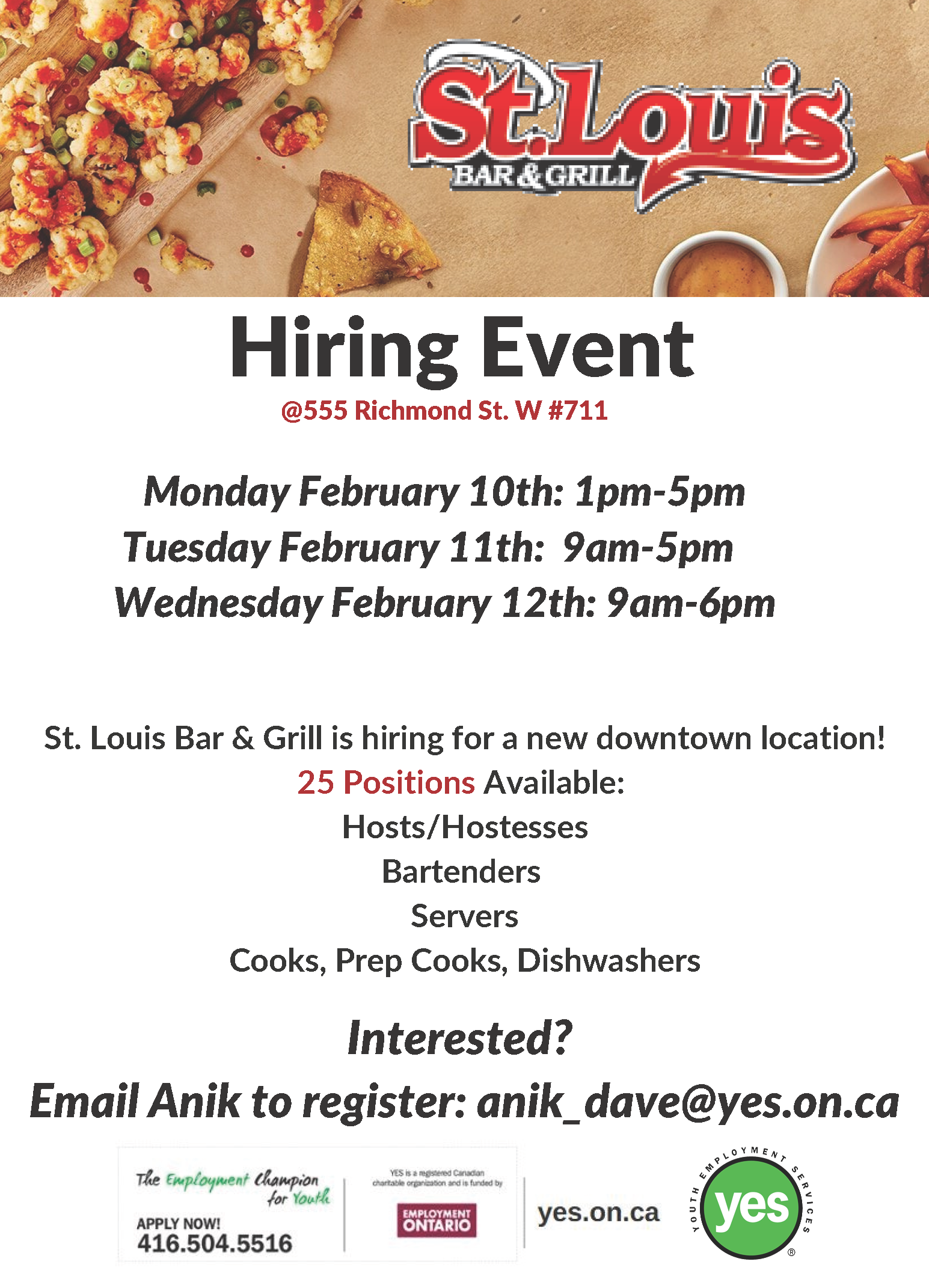 St. Louis Bar & Grill Hiring Event @ Youth Employment Services